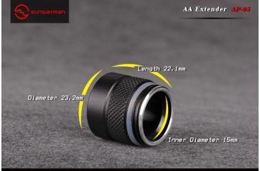 Sunwayman AA Extender, Titanium, Fits Flashlights V10R Ti, V10R Ti2, V10R Ti Plus