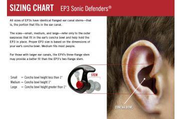 SureFire EP3 Sonic Defender Earpiece Size Chart