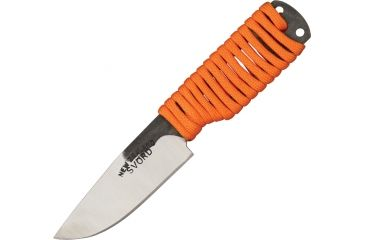 Svord EDC Hi Fixed Knife, Brown leather belt sheath, orange paracord wrapped handle SVEDCB