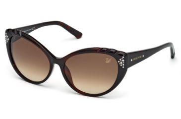 Swarovski SK0055 Sunglasses - Dark Havana Frame Color, Gradient Brown Lens Color