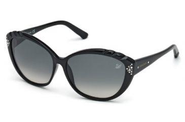 Swarovski SK0056 Sunglasses - Shiny Black Frame Color, Gradient Smoke Lens Color