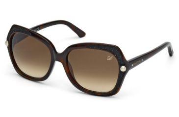 Swarovski SK0062 Sunglasses - Havana Frame Color, Gradient Brown Lens Color