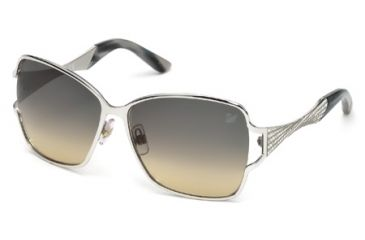 Swarovski SK0064 Sunglasses - Shiny Rhodium Frame Color, Gradient Smoke Lens Color