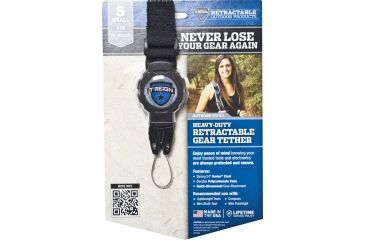 T-Reign Small Retractable Gear Tether Outdoor Series, 4oz w/ 24in Kevlar Cord, Strap, Black, Small 0TRG-413