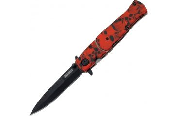 Tac Force 4.75in. Closed Folder Knives, Plain edge Knife, Red Skull Handle TF804RD