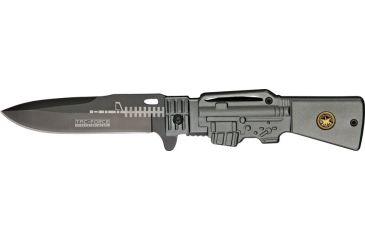 Tac Force Gun Stock Linerlock Fold Knife, black coated HC SS blade, Gun metal gray handle TF706SF