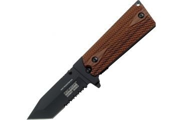 Tac Force Speed Combat Fold Knife, PS, A/O, black 440 SS tanto blade, Black Alum. frame w/ checkered brown faux wood Com TF754TWD