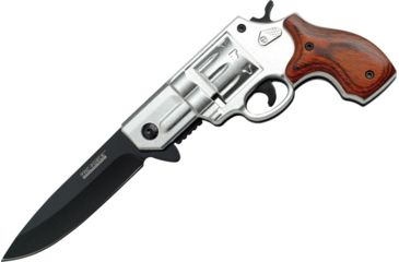 Tac Force Speed Revolver Fold Knife, A/O black 440 SS blade, Alum. Revolver handles. Silver handles w/ brown pa TF760SPW