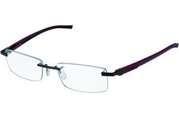 Tag Heuer Automatic Eyeglasses, Dark Frame/Burgundy Black Temples, Clear Lens 0842-006