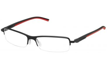 Tag Heuer Automatic Eyeglasses, Matte Black Frame/Black Red Temples, Clear Lens 0824-012