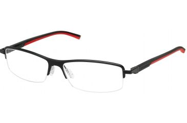 Tag Heuer Automatic Eyeglasses, Matte Black Frame/Black Red Temples, Clear Lens 0825-012