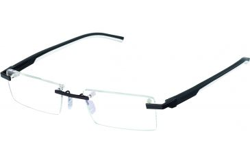 Tag Heuer Automatic Eyeglasses, Matte Black Frame/Black White Temples, Clear Lens 0843-011