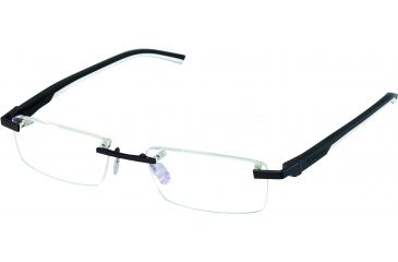 Tag Heuer Automatic Eyeglasses, Matte Black Frame/Black White Temples, Clear Lens 0844-011