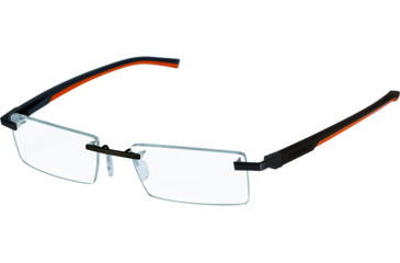 Tag Heuer Automatic Eyeglasses, Matte Chocolate Frame/Dark Brown Orange Temples, Clear Lens 0843-010