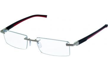 Tag Heuer Automatic Eyeglasses, Pure Frame/Black Red Temples, Clear Lens 0841-002