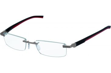 Tag Heuer Automatic Eyeglasses, Pure Frame/Black Red Temples, Clear Lens 0844-002