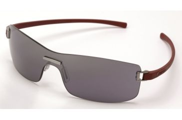 Tag Heuer Club Sunglasses, Brushed Ruthenium Frame/Dark Red Temples, Grey Outdoor Lens 7508-106