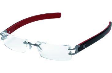 Tag Heuer L-Type Eyeglasses, Anthracite Ceramic Frame/Calfskin Black Red Temples, Clear Lens 0112-004