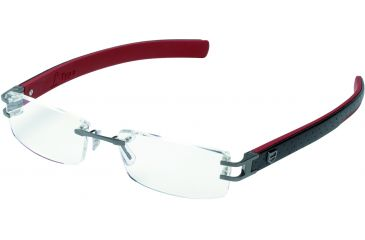 Tag Heuer L-Type Eyeglasses, Anthracite Ceramic Frame/Calfskin Black Red Temples, Clear Lens 0113-004