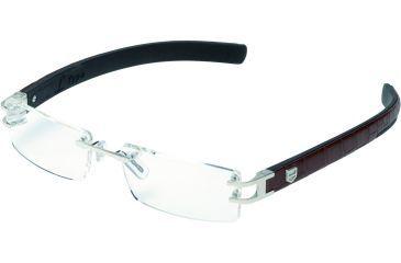 Tag Heuer L-Type Eyeglasses, Palladium Frame/Alligator Matte Brown Black Temples, Clear Lens 0112-001