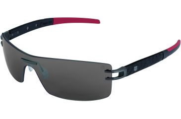 Tag Heuer L-Type LW Sunglasses, Anthracite Ceramic Frame/Calfskin Carbon Black Red Temples, Grey Outdoor Lens 0451-123