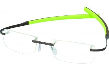 Tag Heuer Spring Rubber Eyeglasses, Matte Chocolate Frame/Green Havana Temples, Clear Lens 0341-006
