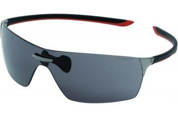 Tag Heuer Squadra Sunglasses, Dark Frame/Black Red Temples, Grey Outdoor Lens 5501-104
