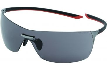 Tag Heuer Squadra Sunglasses, Dark Frame/Black Red Temples, Grey Outdoor Lens 5503-104