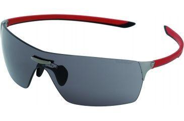 Tag Heuer Squadra Sunglasses, Dark Frame/Red Black Temples, Grey Outdoor Lens 5501-101