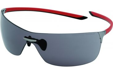 Tag Heuer Squadra Sunglasses, Dark Frame/Red Black Temples, Grey Outdoor Lens 5503-101