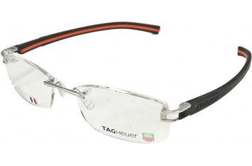 Tag Heuer Track S Eyeglasses, Pure Frame/Black Orange Temples, Clear Lens 7645-004