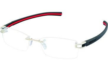 Tag Heuer Track S Eyeglasses, Pure Frame/Black Red Temples, Clear Lens 7645-002