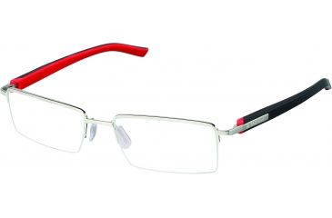 Tag Heuer Trends Rubber Sunglasses, Brushed Frame/Red Black Temples, Clear Lens 8207-002