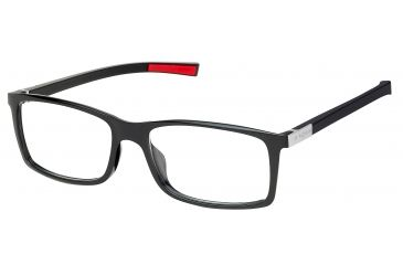 Tag Heuer Urban 7 Eyeglasses, Shiny Black Frame/Red Temples, Clear Lens 0511-002