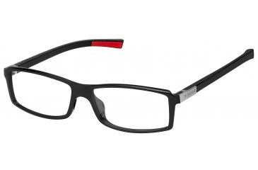 Tag Heuer Urban 7 Eyeglasses, Shiny Black Frame/Red Temples, Clear Lens 0513-002