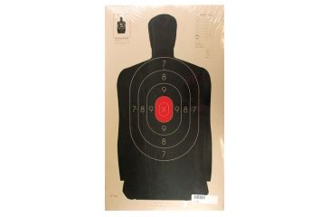 Target Barn B-34 Police Silhouette With Red Center Paper Targets 25 Yard 100 Per Pack