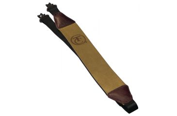 1-Thompson Center Muzzleloader Rifle Sling Brown Leather Faced And Quick Remove Swivels With Logo 7584