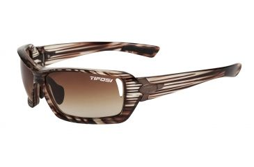 Tifosi Mast Sunglasses - Gloss Wood Frame, Brown/AC Red/Clear Lenses 0020102302