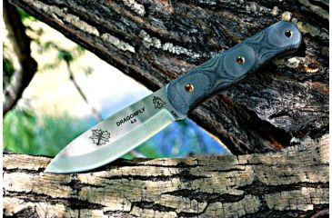 Tops Knives Dragonfly 45 Fixed Blade Knife,4.5in,Tool Steel Blade,Black Canvas Micarta Handle TPDFLY45