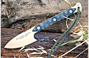 Tops Knives High Desert Harpoon Fixed Blade Knife,3.5in,Rmt Black Linen Micarta Handle TPHDH01