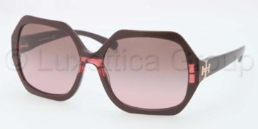 Tory Burch TY7051 TY7051 Sunglasses 112714-5815 - Burgundy Striped Frame, Brown Rose Lenses
