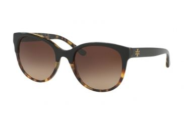 be6d99541bbe Tory Burch TY7095 Sunglasses 160113-54 - Black/Tort Frame, Dark Brown  Gradient