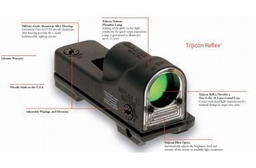 2-Trijicon RX09-23 Reflex Tactical Night Scope - Cyalume Amber Chevron Reticle with A.R.M.S. #15 Throw Lever Mount