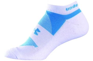 Under Armour 9-11 UACC Womens Noshow Cushn-White/Blue Asst UA 3182-WHT/BLU-MD3