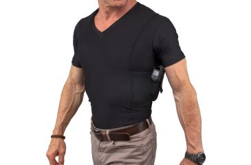 UnderTech Undercover Mens Concealment Holster V-Neck Coolux Shirt,Black,2XL T1275BK-2X