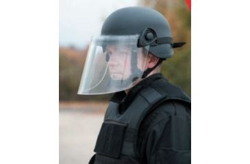 United Shield Command Ballistic Helmet Level IIIA w/ 4pt Harness System and Retrofit Face Shield, Black, Medium COMMANDO SC650-RFFS-BK-MD