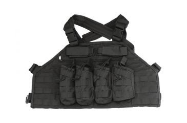 US Palm AK Attack Rack V2 AK47 Four Mag Chest Rig With Armor Pocket Black