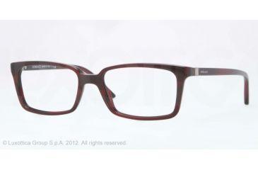 Versace CHARLTON VE3174 Single Vision Prescription Eyeglasses 5045-53 - Red Striped Black Frame, Demo Lens Lenses