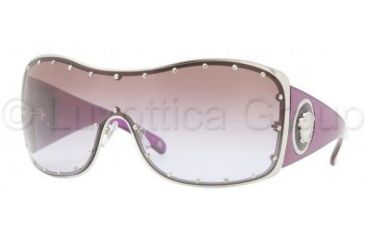 Versace VE2129B Sunglasses 100068-0136 - Silver Frame, Brown Gradient Violet Lenses