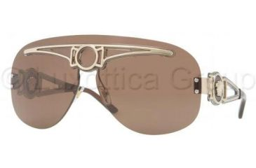 Versace VE2131 Sunglasses 125273-0140 - Pale Gold Frame, Brown Lenses